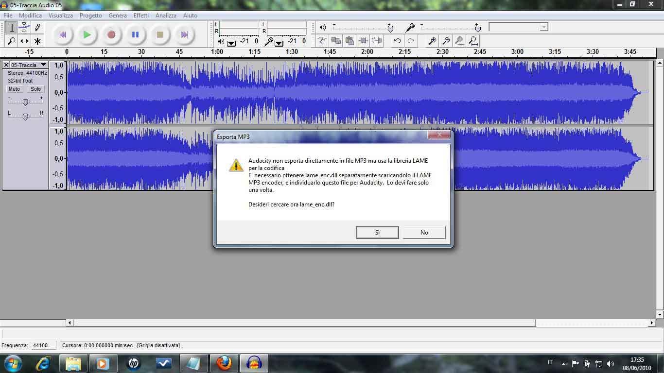 audacity convertire mp3