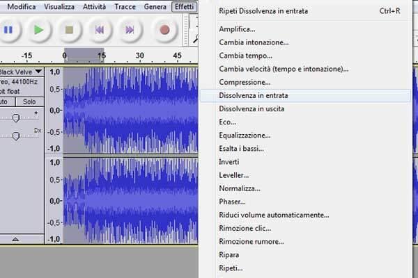 audacity sfumare canzone, sfumare audio